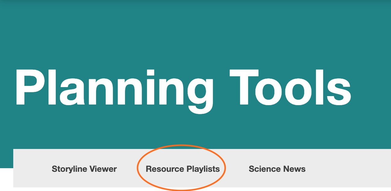 Screenshot showing planning tools with playlists circled
