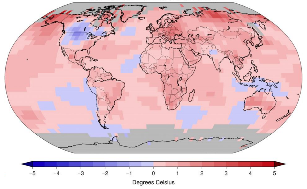 A NOAA map showing the regional temperature departures from average for 2019, ranging from -5 to 5 in degrees Celsius. Most of the globe shows temperature departures above 0, with high departures in parts of Europe, Asia, Australia, and North America.