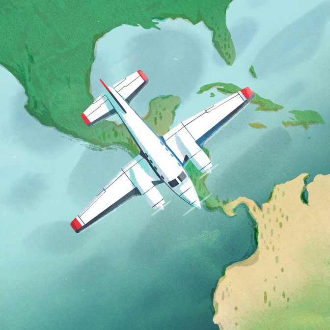 Illustration of an airplane flying over Central America.