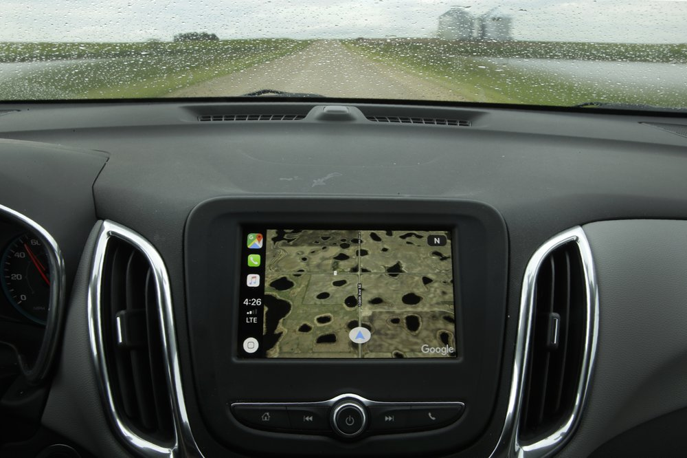 A car with a monitor on its dashboard.