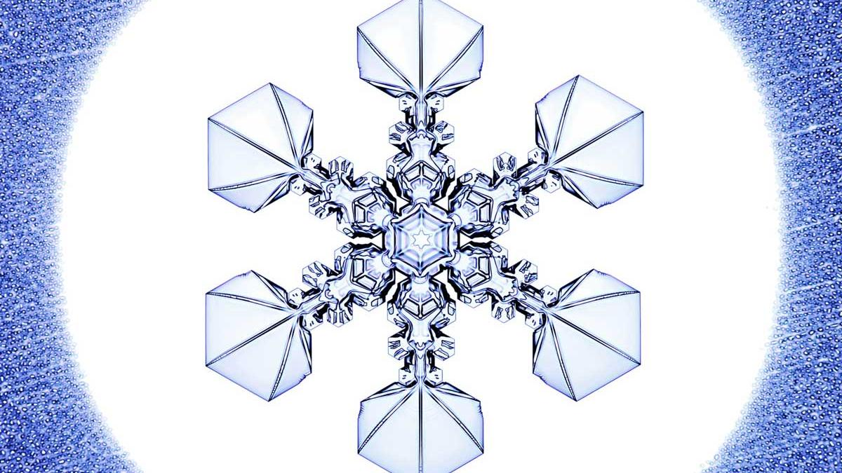 Photo of a snowflake generated in the lab