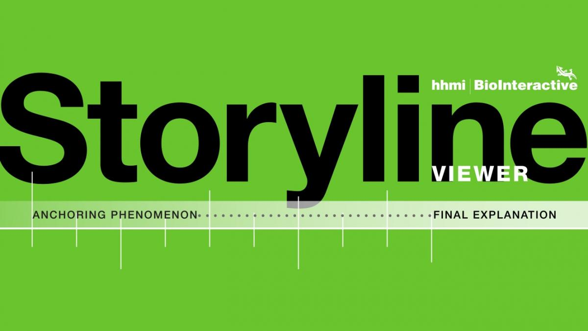 Graphic that says Storyline Viewer with a timeline below it that says Anchoring Phenomenon on the left and Final Explanation on the right side of the timelin.