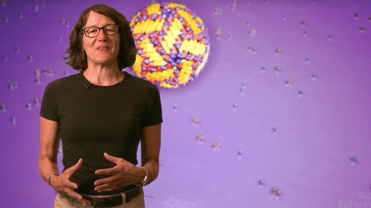 Educator standing in front of a 3D model of a virus.