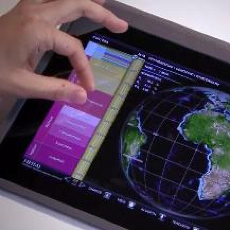Person using the EarthViewer app. Click for the blog post.