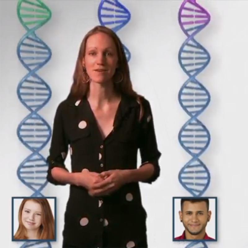Helen Snodgrass in front of images of DNA and people with different skin colors