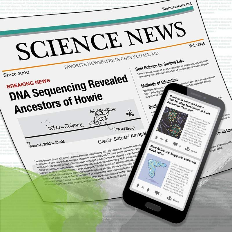 Illustration showing a mock science newspaper and science headlines appearing on a cell phone.